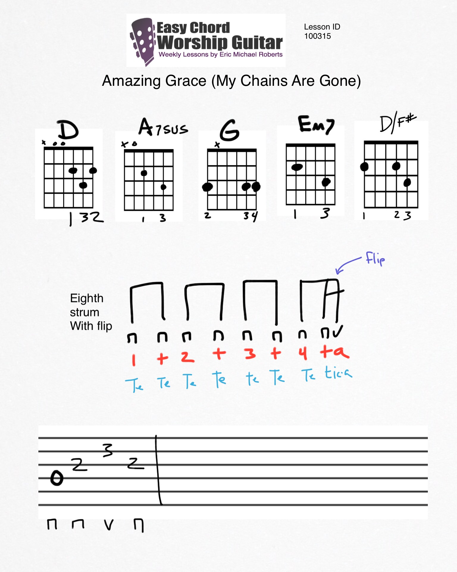Amazing Grace My Chains Are Gone Lesson Id100315 Easy Chord