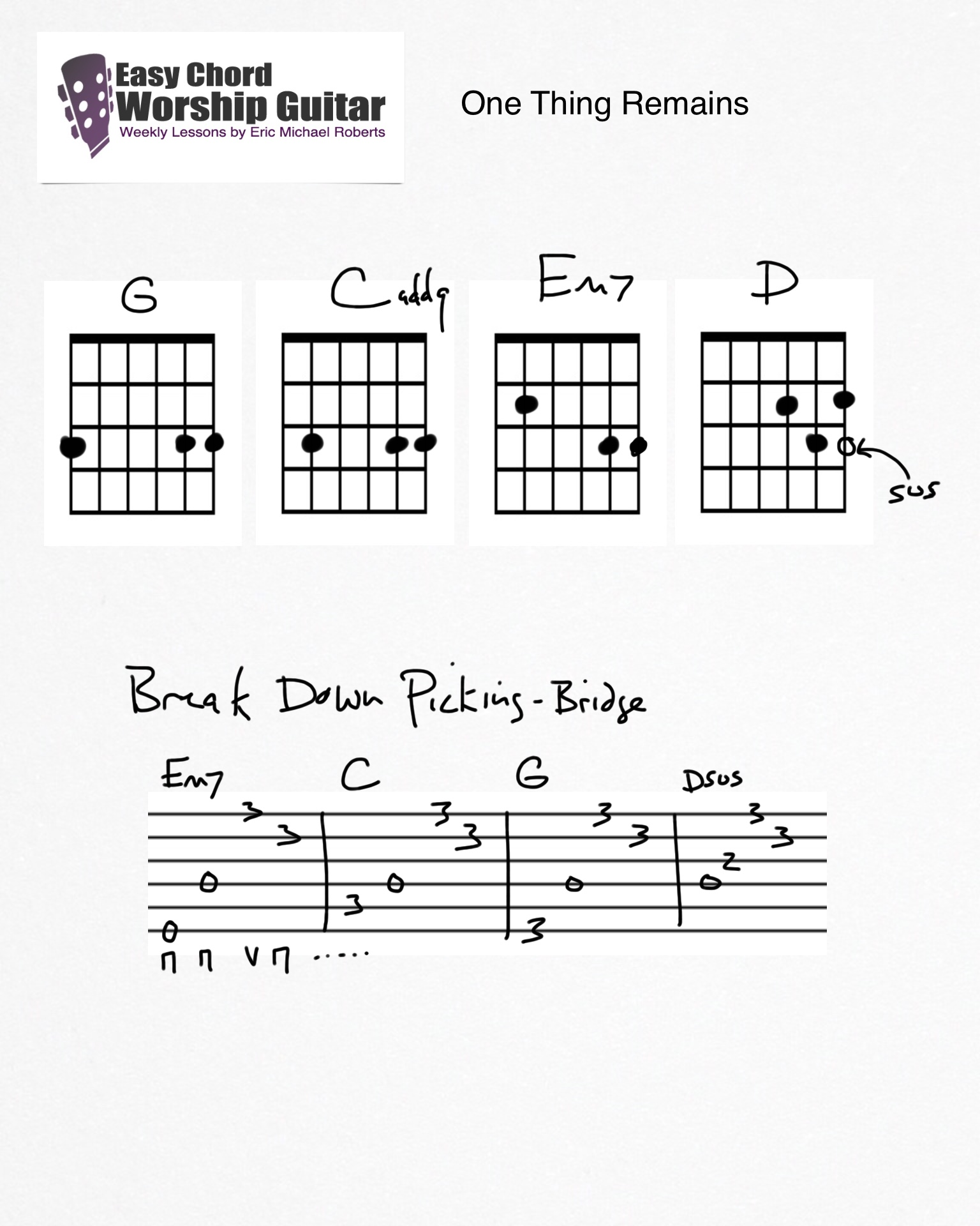 One Thing Remains Easy Chord Worship Guitar By Wtk