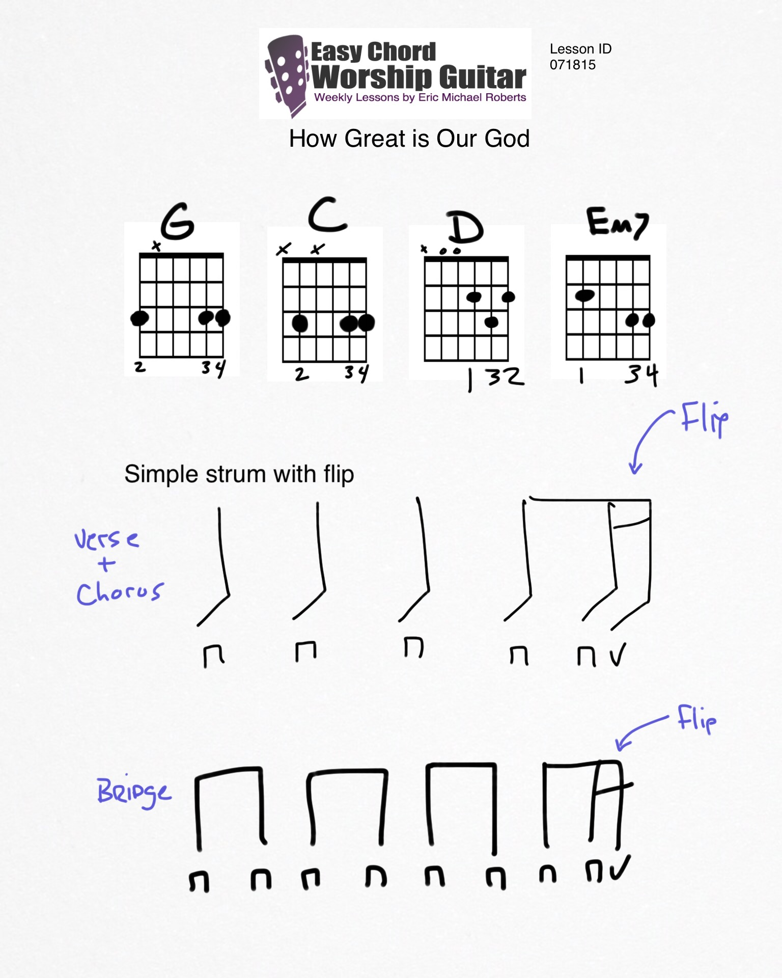 How Great Is Our God Lesson Id 071815 Easy Chord Worship Guitar By Wtk