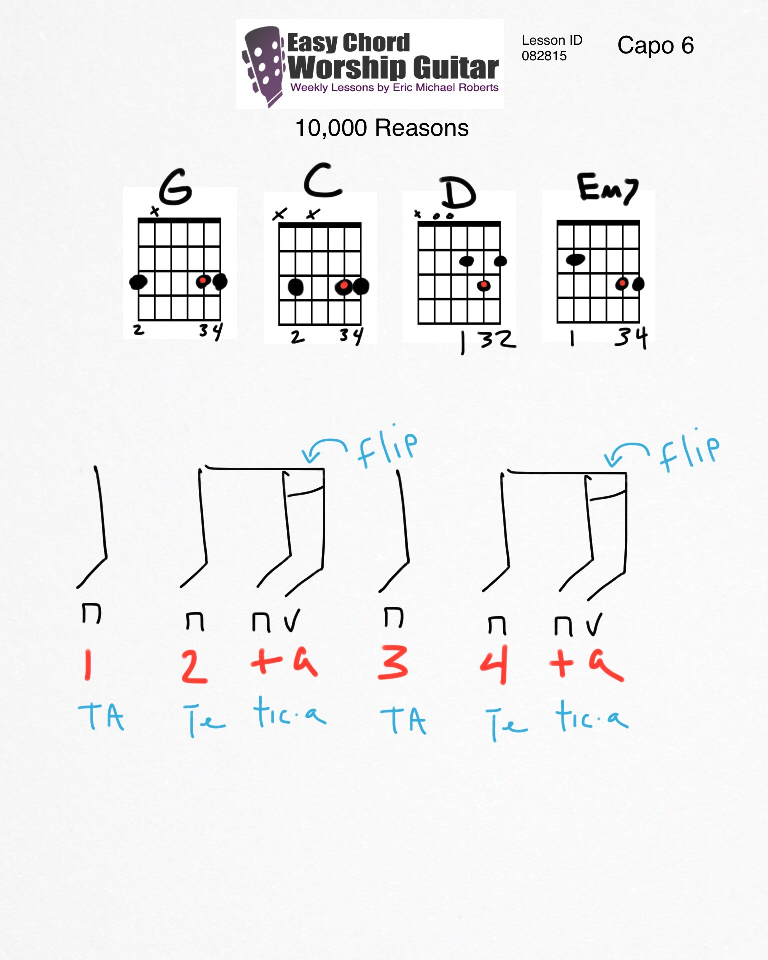 10,000 Reasons Lesson ID 082815 - Easy Chord Worship Guitar